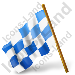 Map Marker Chequered Flag Left Blue Icon