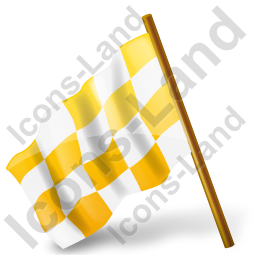 Map Marker Chequered Flag Left Yellow Icon