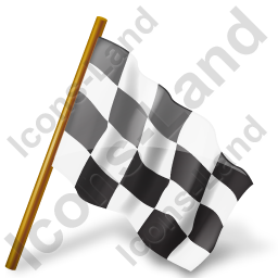 Map Marker Chequered Flag Right Black Icon