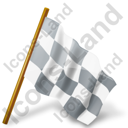 Map Marker Chequered Flag Right Grey Icon