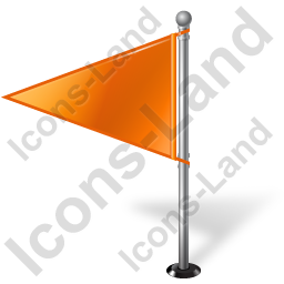 Map Marker Flag 1 Left Orange Icon