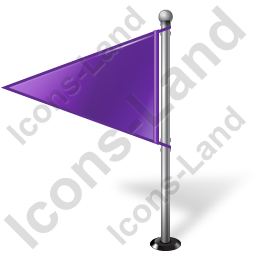 Map Marker Flag 1 Left Violet Icon