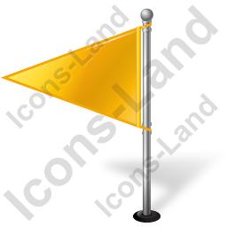 Map Marker Flag 1 Left Yellow Icon