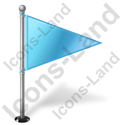 Map Marker Flag 1 Right Azure Icon, PNG/ICO, 256x256