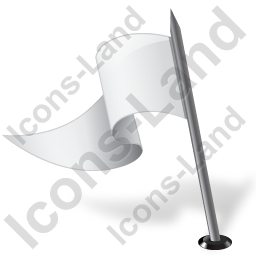 Map Marker Flag 3 Left White Icon, PNG/ICO, 256x256