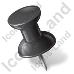 Map Marker Push Pin 1 Left Black Icon, PNG/ICO, 256x256
