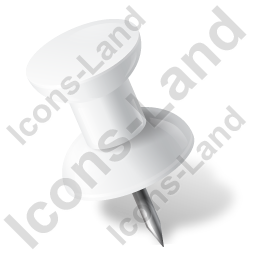 Map Marker Push Pin 1 Left White Icon, PNG/ICO, 256x256