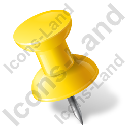 Map Marker Push Pin 1 Left Yellow Icon
