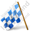 Map Marker Chequered Flag Left Blue Icon, PNG/ICO, 64x64