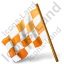 Map Marker Chequered Flag Left Orange Icon