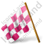 Map Marker Chequered Flag Left Pink Icon