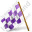 Map Marker Chequered Flag Left Violet Icon
