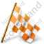 Map Marker Chequered Flag Right Orange Icon