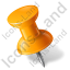 Map Marker Push Pin 1 Left Orange Icon