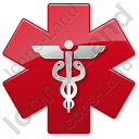 Caduceus Star Red Symbol Icon, AI,