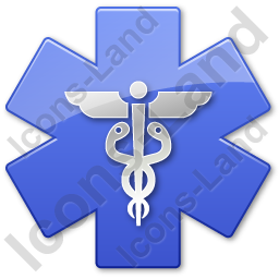 Caduceus Star Blue Symbol Icon, PNG/ICO, 256x256