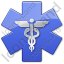 Caduceus Star Blue Symbol Icon, PNG/ICO, 64x64