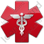 Caduceus Star Red Symbol Icon