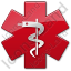 Rod Of Asclepius  Star Red Symbol Icon