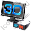 3D LCD Display Glasses Icon, AI,