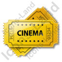 Cinema Ticket Icon, PNG/ICO, 128x128