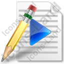 File Playlist Pencil Icon, PNG/ICO, 128x128