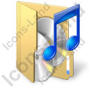Folder Audio Icon, PNG/ICO, 128x128