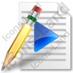 File Playlist Pencil Icon, PNG/ICO Icons, 256x256, 128x128 ...
