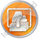ATM Money Out Circle Orange Icon, PNG/ICO, 128x128