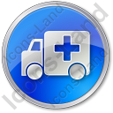 Ambulance Circle Blue Icon, PNG/ICO, 128x128