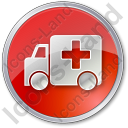 Ambulance Circle Red Icon, PNG/ICO, 128x128