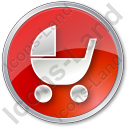 Baby Carriage Circle Red Icon, PNG/ICO, 128x128