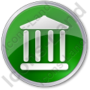 Bank Circle Green Icon, PNG/ICO, 128x128