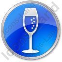 Bar Champagne Circle Blue Icon, PNG/ICO, 128x128