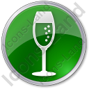 Bar Champagne Circle Green Icon, PNG/ICO, 128x128