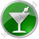 Bar Martini Circle Green Icon