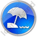 Beach Circle Blue Icon