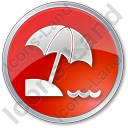 Beach Circle Red Icon, PNG/ICO, 128x128