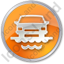 Car Ferry Circle Orange Icon, PNG/ICO, 128x128
