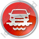 Car Ferry Circle Red Icon, PNG/ICO, 128x128