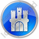 Castle Circle Blue Icon, PNG/ICO, 128x128