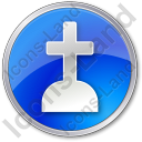 Cemetery Cross Circle Blue Icon