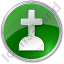 Cemetery Cross Circle Green Icon