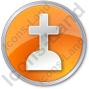 Cemetery Cross Circle Orange Icon