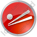 Chopsticks Circle Red Icon