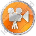 Cinema Circle Orange Icon, PNG/ICO, 128x128
