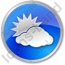 Cloudy Partly Circle Blue Icon, PNG/ICO, 128x128