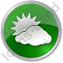 Cloudy Partly Circle Green Icon, PNG/ICO, 128x128