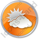 Cloudy Partly Circle Orange Icon, PNG/ICO, 128x128