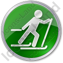 Cross Country Skiing Circle Green Icon